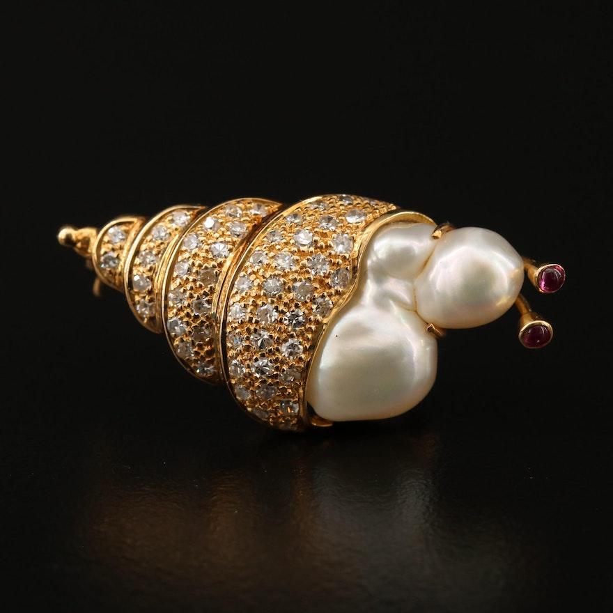 14K Diamond and Baroque Pearl Mollusk Brooch