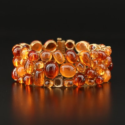 18K Spessartine Garnet and Diamond Bracelet