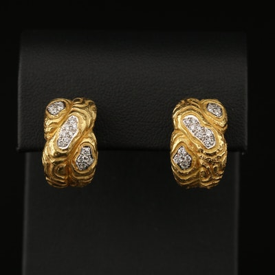 18K Diamond Crossover Earrings with Textured Design