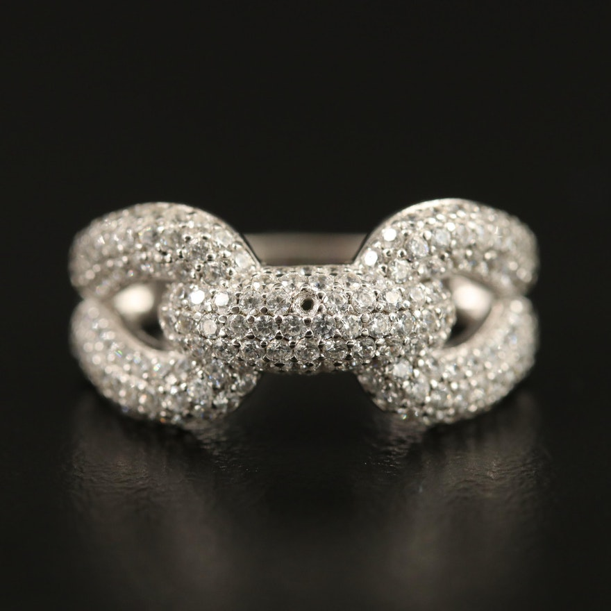 Sterling Silver Cubic Zirconia Link Ring