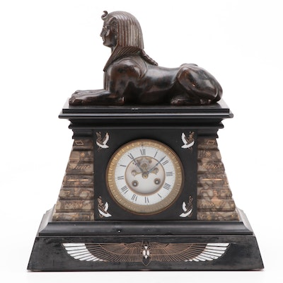 Egyptian Revival Marble and Bronze Mantel Clock with Sphinx, Early 20th Century