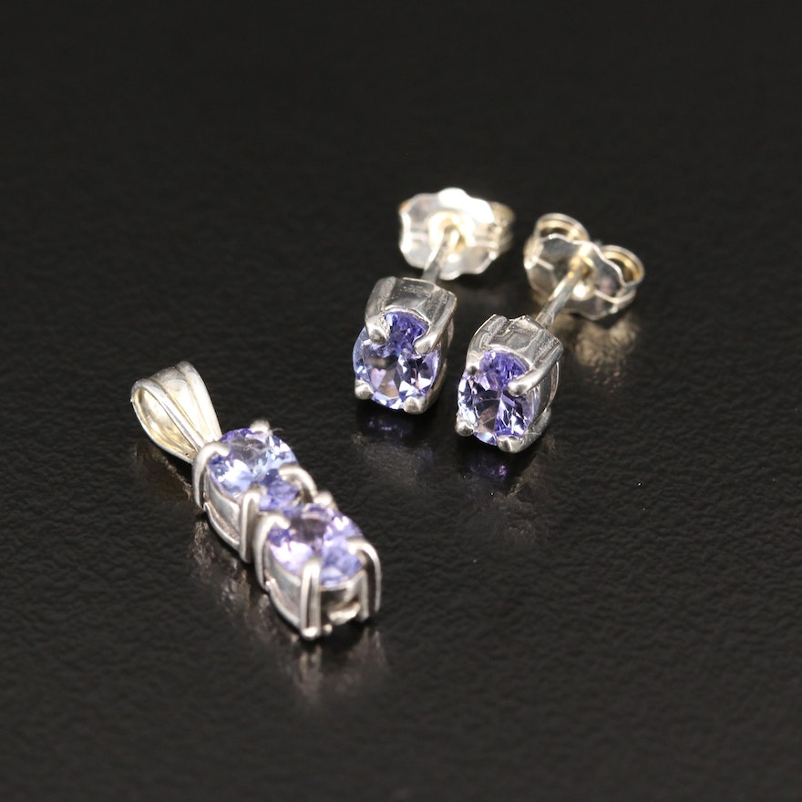 Sterling Silver Tanzanite Pendant and Earrings