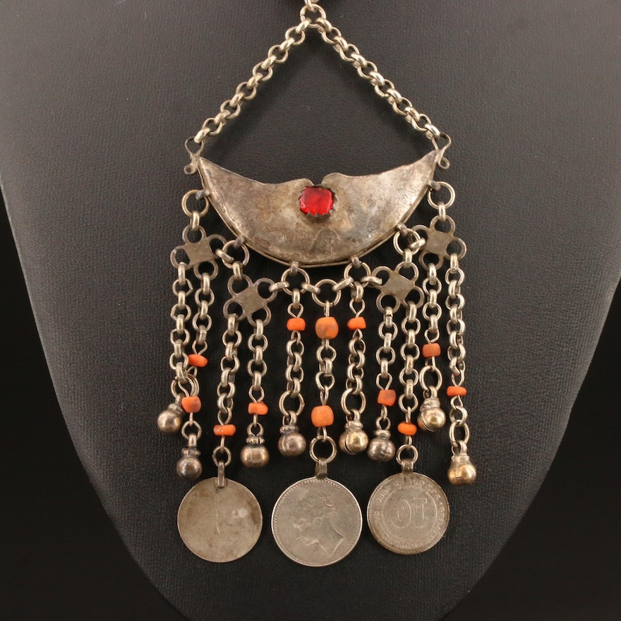 Banjara Inspired Glass and Coral Necklace Including 1840 India Rupee and More
