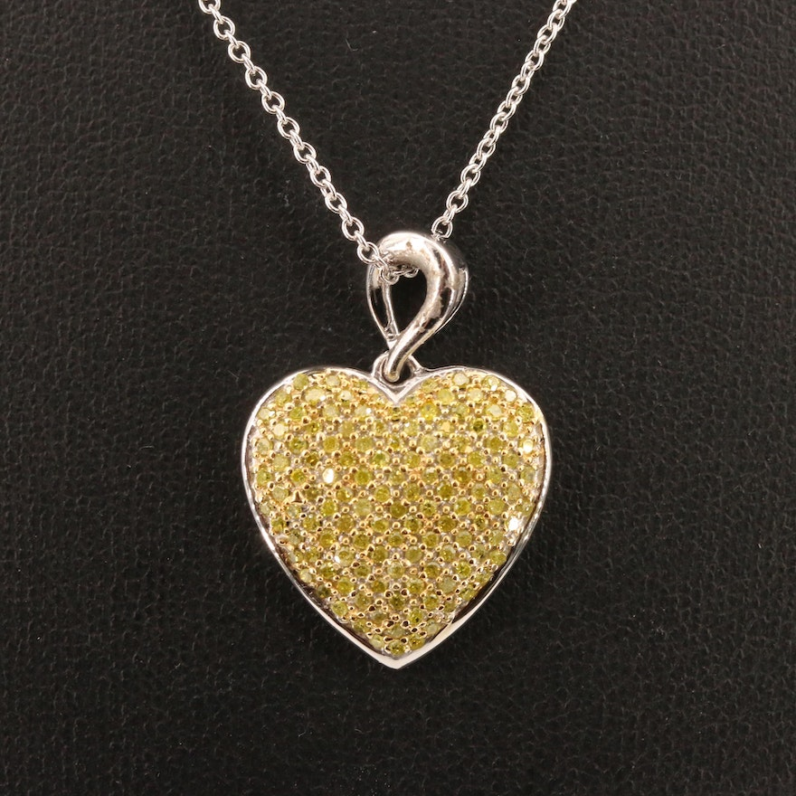 Sterling Silver Pavé Yellow Diamond Heart Pendant Necklace