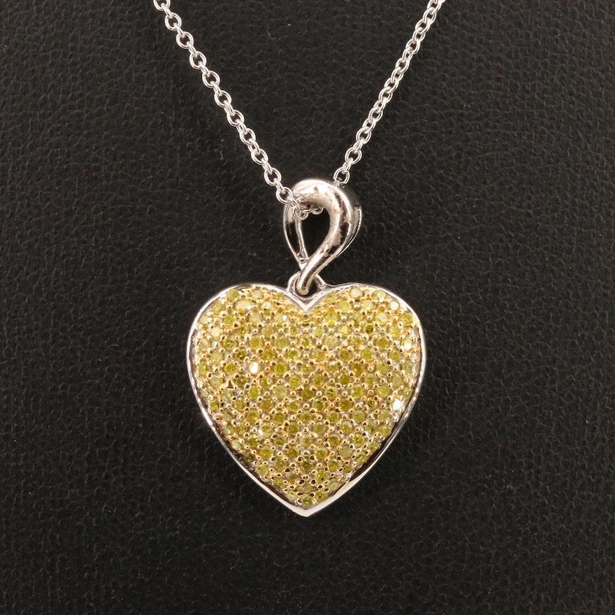 Sterling Silver Pavé Yellow Diamond Heart Pendant Necklace