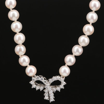 Tiffany & Co. Platinum 1.12 CTW Diamond and Pearl Bow Necklace