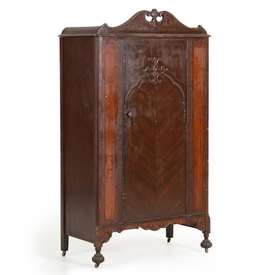 Jacobean Revival Mahogany-Veneered Wardrobe, Early 20th Century