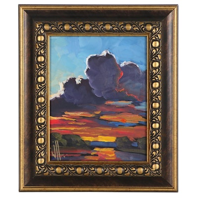William Hawkins Oil Painting of Sunset, 21st Century