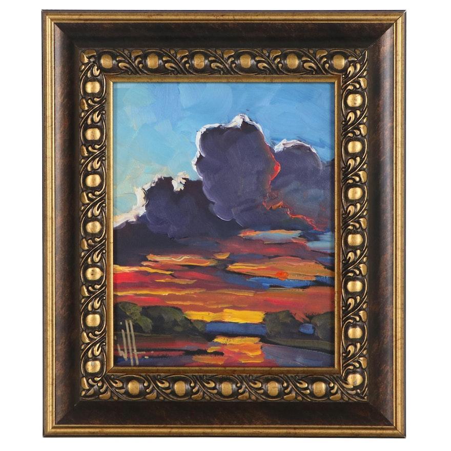 William Hawkins Oil Painting of Sunset, 21st Century