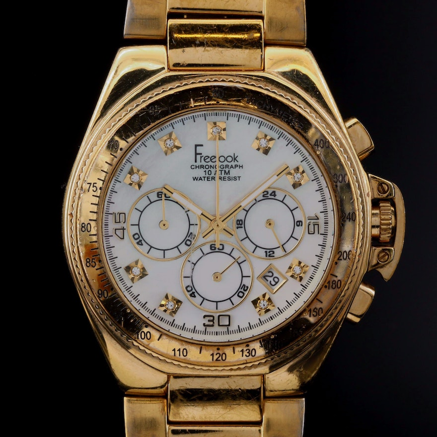 Freelook MOP Dial and Stainless Steel Chronograph Quartz Wristwatch