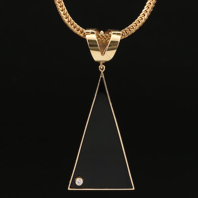 14K Black Onyx Enhancer Pendant with Diamond Accent on 18K Necklace