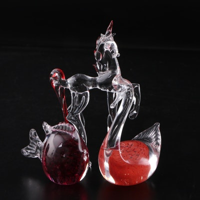Blown Glass Figurines of Unicorn, Fish and Swan, Signed