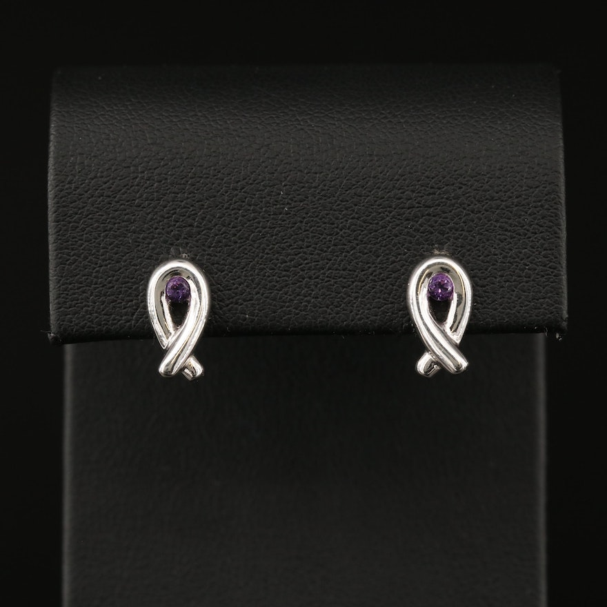 Sterling Silver Amethyst Twist Earrings