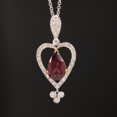 18K Garnet and Diamond Heart Pendant Necklace