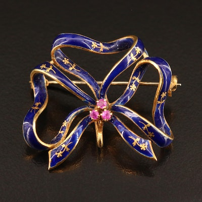 Vintage Sévigué 18K Ruby and Enamel Brooch