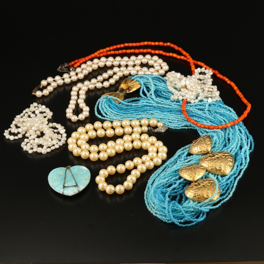 Assorted Pearl and Coral Jewelry Including Various Sterling Silver Clasps.