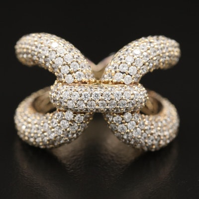 Sterling Silver Pavé Cubic Zirconia Cinched Loop Ring