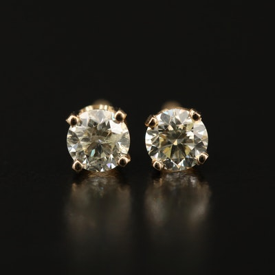 14K 0.60 CTW Diamond Solitaire Stud Earrings