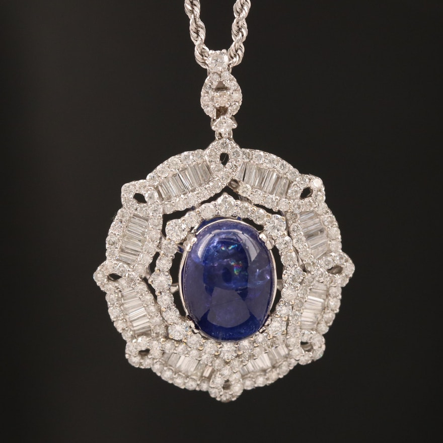 18K and 14K 8.10 CT Tanzanite and 3.94 CTW Diamond Necklace