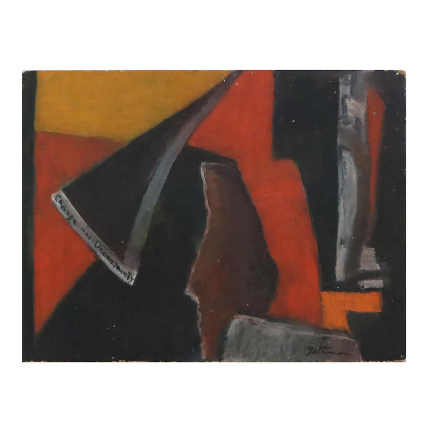 """Lillian Geltman Oil Painting """"Change and Uncertainty,"""" Mid 20th Century"""