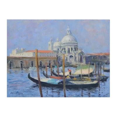 """Nino Pippa Oil Painting """"Venice-Santa Maria Della Salute,"""" 2013"""