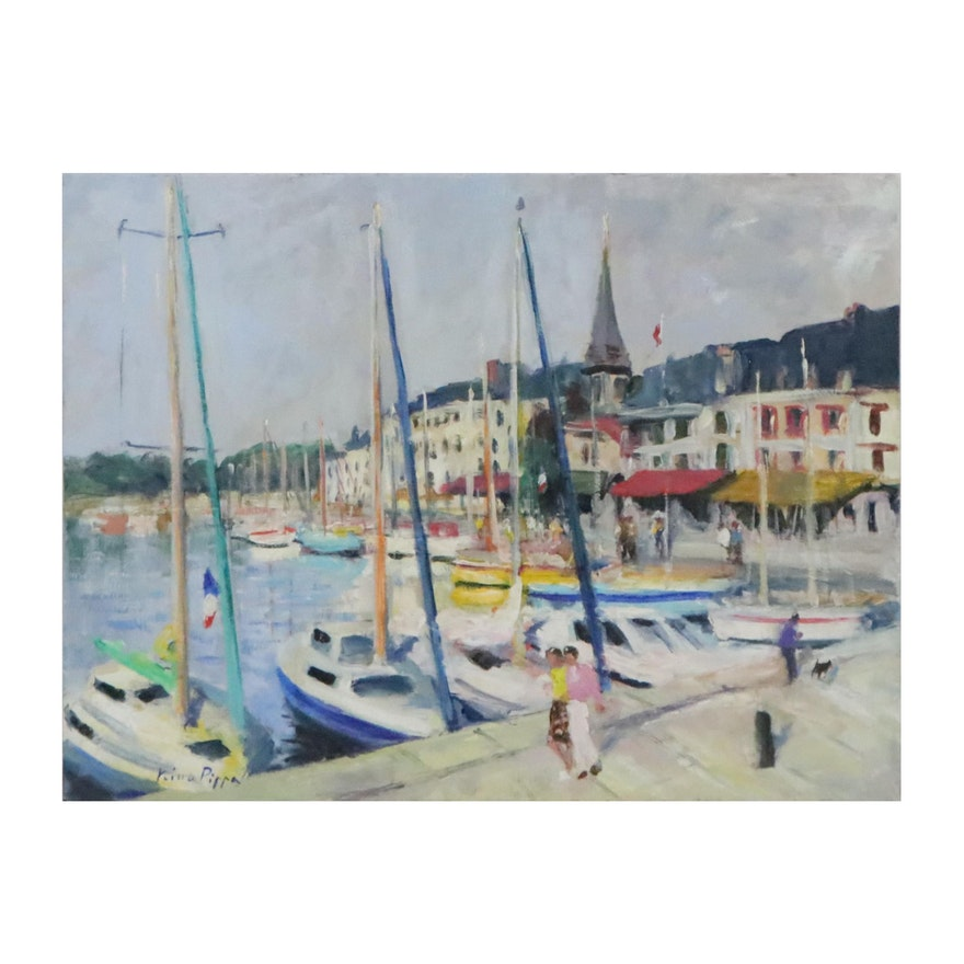 """Nino Pippa Oil Painting """"France - Normandy - Honfleur - The Old Harbor,"""" 2014"""