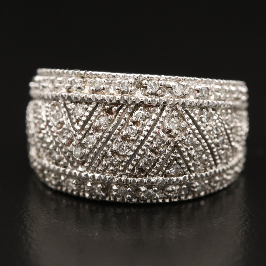 Sterling Silver Diamond Tapered Band