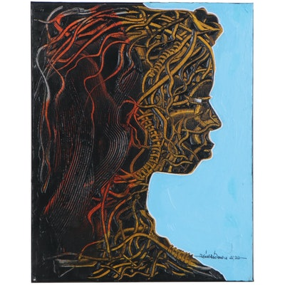"Abiola Idowu Mixed Media Painting ""Beautiful Woman,"" 2020"