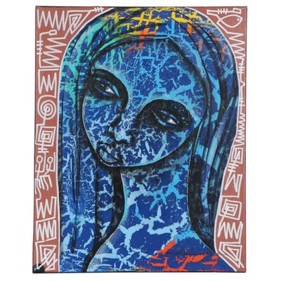 "Abiola Idowu Mixed Media Painting ""Light,"" 2020"