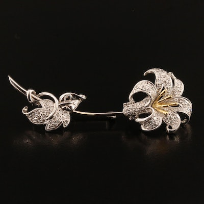 18K Two-Tone Gold Diamond Lily Converter Brooch