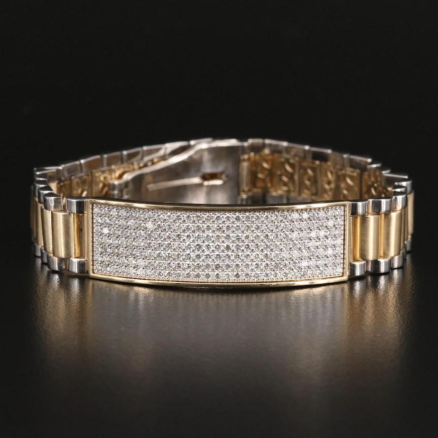 Two Tone 14K 4.50 CTW Pavé Diamond I.D. Link Bracelet