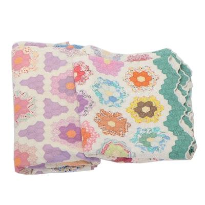 "Hand-Pieced ""Grandmother's Flower Garden"" Quilts"