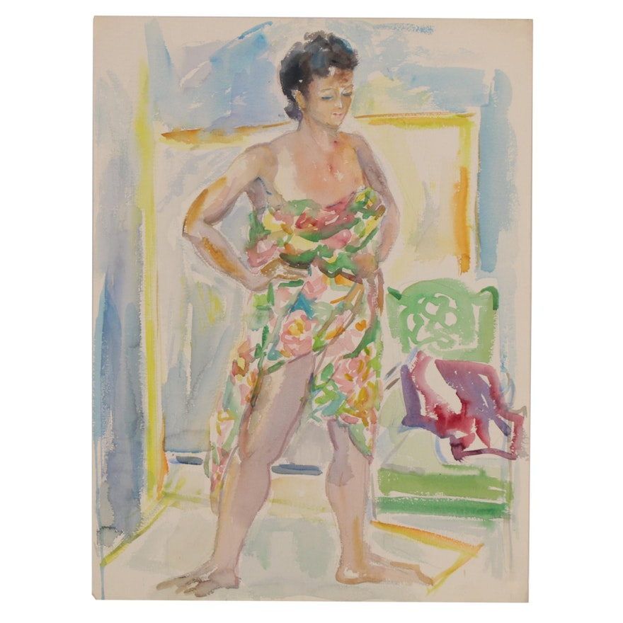 Yolanda Fusco Watercolor Painting Figure Study, Mid to Late 20th Century