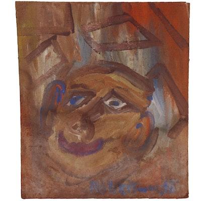 Robert Wright Folk Acrylic Painting of Man's Portrait
