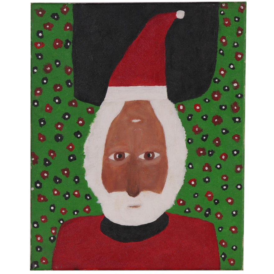 Robert Sellers Stylized Double Portrait Acrylic Painting of Santa
