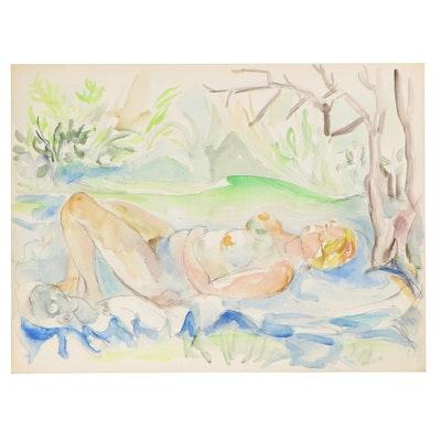 Yolanda Fusco Figurative Watercolor Painting, Mid to Late 20th Century