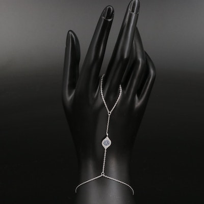 Sterling Spinel and Cubic Zirconia Evil Eye Finger Ring Connector
