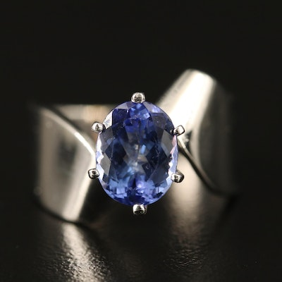14K Tanzanite Ring with Twisting Design