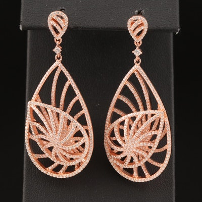 Sterling Silver Cubic Zirconia Spiral Teardrop Earrings