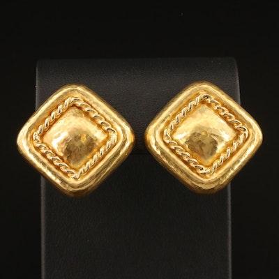 18K Hammered Geometric Earrings For Pierced or Non Pierced Ears