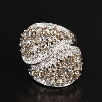 18K 5.32 CTW Diamond Ring with Bypass Design