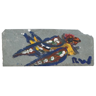 Robert Wright Acrylic Folk Painting on Slate