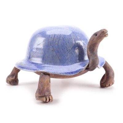 Hand-Built Folk Art Ceramic Turtle