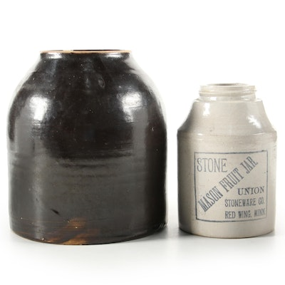 Union Mason Fruit Jar and Other Stoneware Crock, Late 19th Century