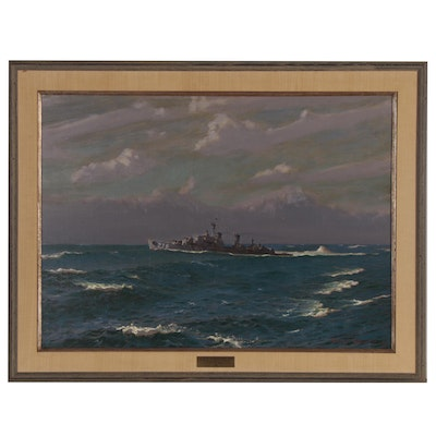 "Edmond James Fitzgerald Oil Painting ""The Destroyer U.S.S. Fletcher"", 1964"