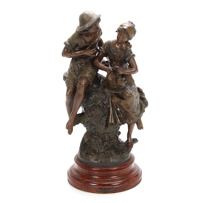 "Bronze Sculpture after Auguste Moreau ""Pastorale,"" 20th Century"