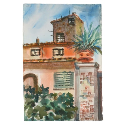 "Kathleen Zimbicki Watercolor Painting ""Italy,"" 1983"