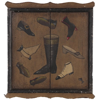 Folk Art Oil Painting of Footwear, Late 20th Century
