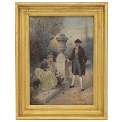 Charles Allen Duval Oil Painting of Romantic Scene, 19th Century