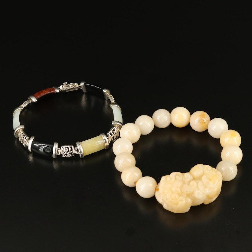 Sterling Black Onyx and Jadeite Bar Link Bracelet with Carved Quartz Bracelet